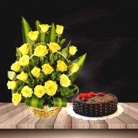 20 Yellow Roses Bouquet Combo
