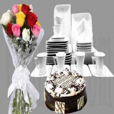 Different Color Roses Bouquet Birthday Combo