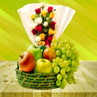 Different Color Roses With Fruit Basket