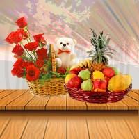 Teddy Bear With Fruit Basket