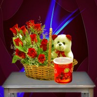 Red Roses Basket With Gulab Jamun Can