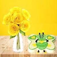 6 Yellow Roses Gift Combo