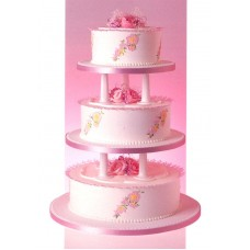 Special 3 Tier Pink Flowered Cake