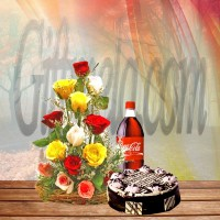 Different Color Roses With Black Forest Cake