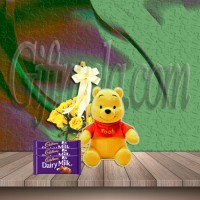 Yellow Roses Basket With Pooh Doll