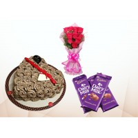 Cake with chocolates & Red Rose Bouquet Combo