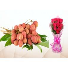 200 Pecs Litchi & 5 Red Roses Bouquet