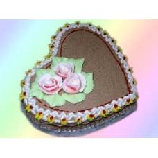 Heart Shape Cake, 3 Creamy Flowers on Top(1KG)
