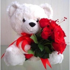 Attractive love rose with cute teddy bear gift