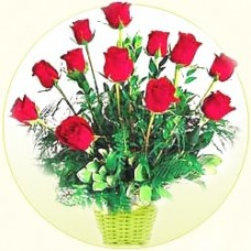 20 Red roses classically arranged in a basket