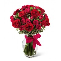24 Roses in a vase for loved one